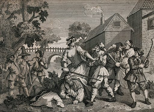 Trulla holding a sword stands over Hudibras and restrains a man bearing a club; Ralpho is held between two men. Engraving by William Hogarth. Created 1768. Contributors: William Hogarth (1697–1764). Work ID: exrvrxf6.