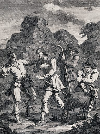Four figures including the knight of the rock, Don Quixote, Sancho Panza, a goatherd and a goat. Engraving by William Hogarth. Contributors: William Hogarth (1697–1764). Work ID: psjk9c8t.