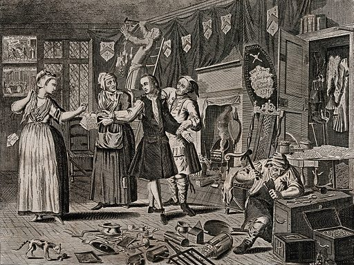 """In a room hung with black drapes to show mourning, Ramble Gripe, in the company of a pregnant woman holding out a ring, and her mother with a letter, is measured by a tailor; a coffin lid leans against the fireplace. Engraving by Thomas Bowles, 1735. The scene and characters are based on William Hogarth's A Rake's Progress. Ramble Gripe replaces Tom Rakewell. """"The tragedy of the rake follows from the fact that he is the son of a miser: in the world of poetry and drama miserliness begets its contrary"""". (D Bindman, Hogarth, London 1981, p 64). In tacking up the hangings, a servant disturbs a hidden horde. An emaciated cat stands by a variety of implements such as a candle-snuffer. A smith, using a hammer and chisel attempts to break open a coffer. Hanging on the walls are two scenes on the subject of the Prodigal Son. Created 1735. Contributors: Thomas Bowles, II (active 1712–1767); William Hogarth (1697–1764). Work ID: qxae7ek2."""