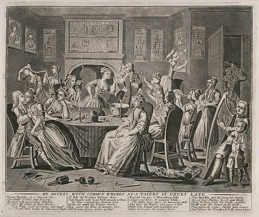 """The rake carouses in a tavern full of prostitutes. Engraving by Thomas Bowles, 1735. Drury Lane, Covent Garden was notorious for """"disorderly"""" taverns and """"bawdy"""" brothels. The whores """"dally, quarrel, smoke and quaff"""" accompanied by harp and violin music. On the walls are a variety of pictures. From left to right they are inscribed """"Polly Peacham, """"Capn. Mackheath"""", """"Tiberius Caesar"""", """"The famous Seven wonders of the world"""", """"Caesar Augustus"""", """" Julius Caesar"""", """"Sarah Malcolm"""" and """"Nero"""". One of the whores kisses the portrait of Dr Henry Sacheverell (1674–1724), a seditious preacher. Created 1735. Drury Lane (London, England). Henry Sacheverell (1674?-1724). Contributors: Thomas Bowles, II (active 1712–1767); William Hogarth (1697–1764). Work ID: uh5cr6y9."""