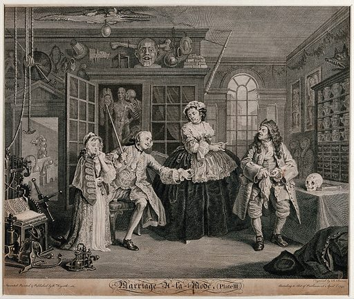"""In the cabinet of the quack doctor, the viscount Squanderfield holds out a small pill-box as a young girl dabs her face with a handkerchief. Engraving by B Baron after W Hogarth, 1745. The pill-box probably contains """"cures"""" for venereal disease. The larger machine is for straightening a dislocated limb while the smaller one simply draws a cork from a bottle. The doctor polishes his spectacles beside a human skull with perforations on the frontal bone. In a cupboard hangs a human skeleon entwined with a life-size anatomical figure. Over this hangs a glass urinal and a brass shaving dish. There is also an enormous bone and, hanging from the ceiling, is a dried or stuffed crocodile (see ICV 49817). To the right is an apothecaries' show case containing earthenware. Created 1745. Contributors: William Hogarth (1697–1764); Bernard Baron (1696–1762). Work ID: y7qvcfz3."""