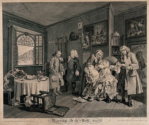 """The countess, having taken a dose of laudanum nears death, and is kissed by her sickly child held towards her by an elderly maid; her father slips her ring from her finger. Engraving by Louis Gérard Scotin after William Hogarth, 1745. The view through the window is of Old London Bridge and the Thames river. An apothecary summoned to the scene exits holding a traditional gold-headed walking cane. A scrawny dog tugs at the ear of a pig's head on a dish, indicating the frugality of the merchant. Another apothecary rages at a servant, who, judging from his countenance and physiognomy, is feeble-minded. Protruding from the former's pocket is a ring-pull from a syringe and a bottle labelled """"julep"""", a sedative. The pictures constrast with the Italian Old Masters belonging to the Squanderfields and comprise Dutch genre scenes and a still-life. Also of interest is an """"almanack"""" stuck to the wall. Created 1745. Contributors: William Hogarth (1697–1764); Louis Gérard Scotin (1690–). Work ID: nbb36tnq."""