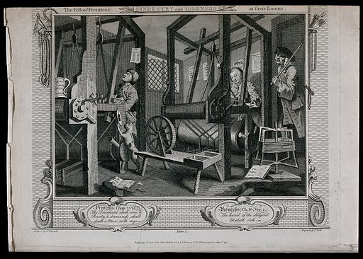 """In a Spitalfields silk weaver's shop two contrasting apprentices, Tom Idle, asleep, and Francis Goodchild, engrossed in his work, sit at their looms overseen by their master. Engraving by Thomas Cook after William Hogarth, 1749. On the ground are two copies of """"The prentice's guide"""". One is in a dishevelled state while the other is mint. Above the sleeping apprentice is a ballad slip inscribed """"Moll Flanders"""", while behind the industrious apprentice is a broadside inscribed """"Whitington Ld Mayor! A large beer tankard rests on the unused loom and a cat toys with a spindle. Created 1 July 1795. Contributors: William Hogarth (1697–1764); Thomas Cook (approximately 1744–1818). Work ID: ef3tm5qr."""