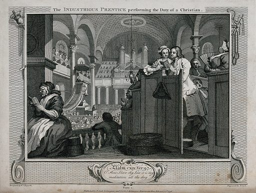 In the company of his master's daughter Francis Goodchild sings attentively from a hymn book during a church service. Engraving by Thomas Cook after William Hogarth, 1796. The church is traditionally identified as St Martin-in-the-Fields. Behind the devout couple in the pew a man sleeps (no doubt snoring) during the singing. Created 1 February 1796. Contributors: William Hogarth (1697–1764); Thomas Cook (approximately 1744–1818). Work ID: a2bw848t.