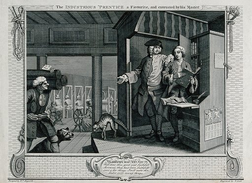 """A bewigged Francis Goodchild stands with his master in the counting house raised above the level of the workshop where the weavers and spinners work, holding a ledger, a money-bag and two keys. Engraving by Thomas Cook after William Hogarth, 1795. A tag is inscribed """"To Mr West"""", the ledger is inscribed """"day book"""", and a calendar is inscribed """"London Almanack"""". Created 1 December 179[5 Contributors: William Hogarth (1697–1764); Thomas Cook (approximately 1744–1818). Work ID: qd37zmxd."""