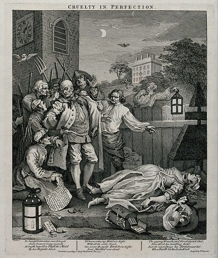 A night scene with Tom Nero apprehended in a church-yard before the murdered body of a pregnant maidservant. Engraving by William Hogarth, 1751. The murdered maidservant was seduced into stealing her mistress's plate. There are gaping wounds across the neck, the wrist and fore finger. The knife as murder weapon is held before Nero. Created 1 February 1751. Contributors: William Hogarth (1697–1764). Work ID: pxjf8d34.