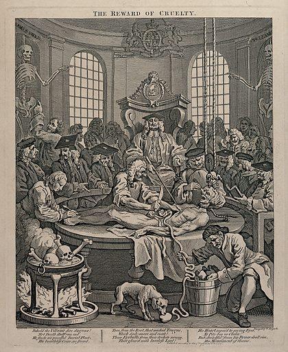 The dissection of the body of Tom Nero. Etching by W Hogarth, 1751. SATIRE. WILLIAM HOGARTH (1697–1764). Contributors: William Hogarth. Work ID: ek5fmsvx.