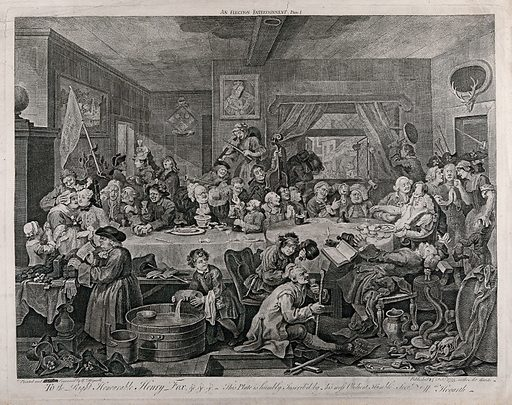 """An election banquet. Engraving by W Hogarth, 1755. The scene is partly derived from the notorious Oxfordshire election of 1754. (RJ Robson, The Oxfordshire Election of 1754, Oxford 1949) between the Tories or """"Old interest"""" and the Whigs or """"New Interest"""". The Whigs are inside a tavern. Above the two candidates, who sit on the left side, is a prominent banner bearing the slogan """"Liberty and Loyalty"""". The young candidate endures being kissed by a fat old crone and his wig smoulders due to the contents of a pipe emptied on his head. The other candidate is accosted by a man with scratches on his face. The two factions exchange abuse: a brick hurled through the window hits a man on the head, knocking him backwards, while in return the chamber pot is emptied out of the window. A butcher nurses the head of an election ruffian who clutches a cudgel, by pouring the contents of a bottle of gin on the wound. At the head of the table the mayor, surrounded by empty oyster shells, is bled by a barber-surgeon (a tourniquet is tied round his arm). The scenes contains extensive detail and topical references. The overall composition probably derives from high art representations of the Last Supper. (E Wind, 'Borrowed attitudes in Reynolds and Hogarth', Journal of the Warburg and Courtauld Institutes, 2, 1938–9, p 184). Created 24 February 1755. Contributors: William Hogarth (1697–1764). Work ID: h9nwz8ja."""