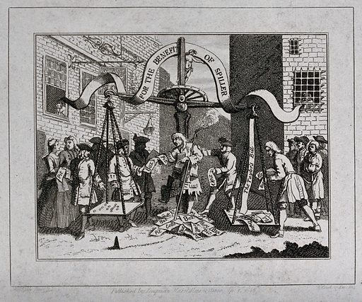 The comedian James Spiller is selling tickets under a giant set of scales which is weighing the actor's debts against his proceeds. Engraving after W Hogarth, ca 1720. Created 1720?. Contributors: William Hogarth (1697–1764). Work ID: ukkfgxcu.