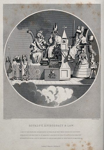 King George I representing royalty; a bishop representing episcopacy; and a lawyer representing law. Engraving by J Moore, 18 – after W Hogarth, 1724. King George I, with a guinea coin for a head, is holding a sceptre and an orb; a bishop suffering from gout is resting his leg on a pillow; a lawyer in lavish dress has a mallet for a head. Created 18 –. Contributors: William Hogarth (1697–1764); J Moore, engraver. Work ID: jmznmat2.