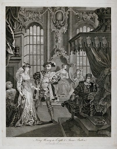 Henry VIII holding Ann Boleyn's hand; cleric seated by a throne on the right hand side. Engraving by T Cook after W Hogarth, October 1804. Created October 1804. Contributors: William Hogarth (1697–1764); Thomas Cook (approximately 1744–1818). Work ID: tqw6fqpf.