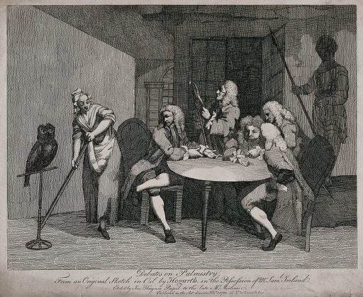 Five men congregated round a table, looking at the palm of their hands; owl on a perch and servant on the left hand side; skeletons in the background. Etching by J Haynes after W Hogarth, 7 Feb. 1782. Created 7 Feb. 1782. Contributors: William Hogarth (1697–1764); Joseph Haynes (1760–1829). Work ID: qy9bsjtj.