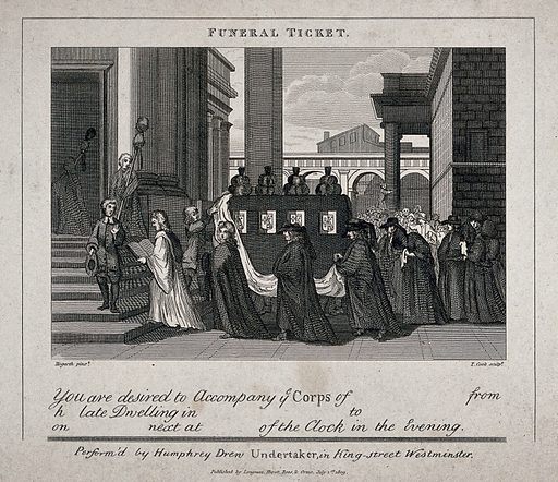 A funeral procession entering a church. Etching by T Cook after W Hogarth. The design shows the mourning procession entering a church. The parish clerk pauses on the steps, as if admonishing the assembled crowd to be quiet, he is followed by a clergyman in surplice who reads the exordium of the burial service. The next clergyman, who seems to be posing for the crowd, will probably deliver the eulogy. The mourners follow in pairs behind the pall. A crowd is seen in the distance, one man climbing up on a pillar to have a better view. An assistant draws back the pall, topped with plumes and bordered with coats of arms, before the procession enters the church. Created 1 July 1809. Death. London (England). Contributors: William Hogarth (1697–1764); Thomas Cook (approximately 1744–1818); Humphrey. Drew. Work ID: nqbm559h.