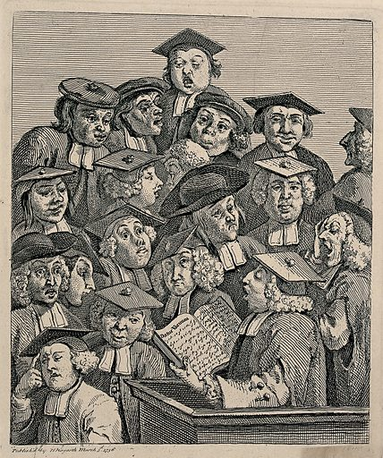"""Scholars at a lecture. Engraving by W Hogarth. """"Datur vacuum"""" is a pun on """"vacuum"""" carried out in the expressions of various auditors. The reader is supposed to be William Fisher of Jesus College, Oxford. Created March 3rd 1736. Contributors: William Hogarth (1697–1764). Work ID: jq7dcus4."""