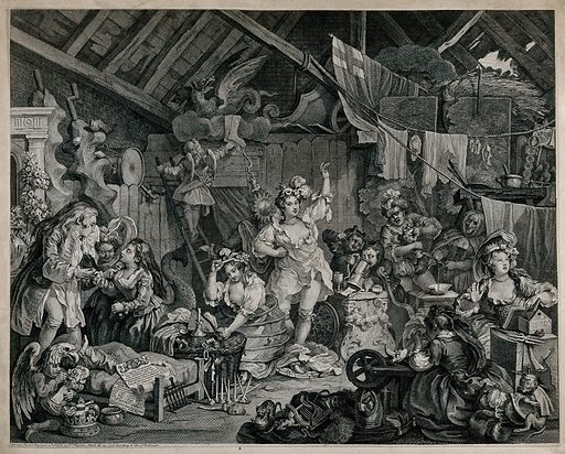 Strolling actresses dressing in a barn, a look behind the scenes of a backstage dressing room. Engraving by W Hogarth. Hogarth shows a behind-the-scenes view of rehearsal plays with their travesties of classical myth. Created March the 25, 1738. Contributors: William Hogarth (1697–1764). Work ID: kp5hdd3k.