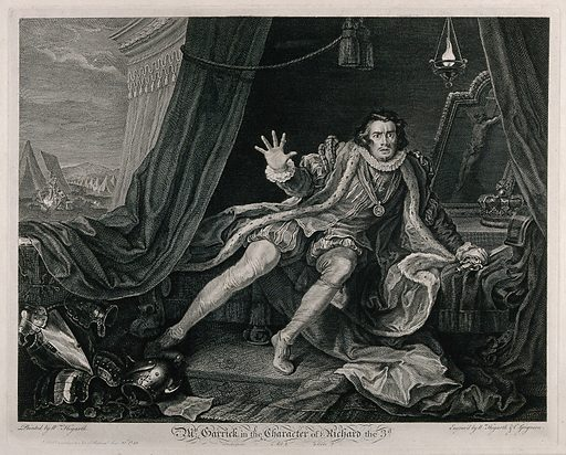 """David Garrick in the rôle of Richard III, awakening from his nightmare in the tent with military activities in the background. Etching by W Hogarth and C Grignion after W Hogarth. Shakespeare, Richard III, act 5, scene 3 On the eve of the battle of Bosworth Field in 1485, Richard wakes from a nightmare in which a succession of ghosts have told him """"Despair and die!"""". Created Publish'd according to Act of Parliam't June 20th 1746. Nightmares. Bosworth Field, Battle of, England (1485). David Garrick (1717–1779). Richard III, King of England (1452–1485). William Shakespeare, 1564–1616. King Richard III. Contributors: William Hogarth (1697–1764); Charles Grignion (1721–1810). Work ID: m87pcv6f."""