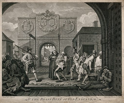 Calais gate: the Host is administered to sick people, while emaciated and ragged French people go about their business. Etching by C Mosley after W Hogarth. Only the friar is fat, all other denizens of Calais are emaciated, the cook is struggling under the sirloin of beef; representing the folly of the French as their addiction to fashion and to the Church of Rome. Created 6th March 1749. Calais (France). Contributors: William Hogarth (1697–1764); Charles Mosley (approximately 1720–approximately 1770). Work ID: xuhmjtpq.