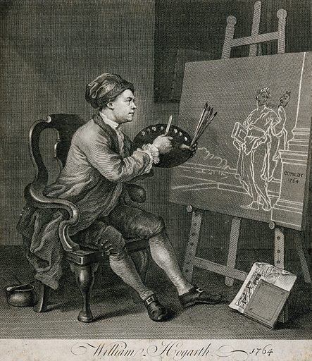 """Hogarth painting the comic muse. Etching after W Hogarth. Thalia is holding a book, the attribute of Rhetoric. The """"Analysis"""" is propped against the easel and Thalia's mask is that of a satyr. Created 1764. Contributors: William Hogarth (1697–1764). Work ID: cbad6b6c."""