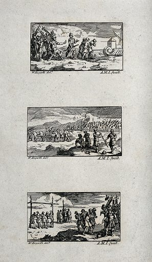 Three illustrations of Roman military punishment: banishment, degrading punishment, and freemen degraded and sold into slavery. Etchings by AMI after W Hogarth. Degrading entailed having the spear taken away and being made to march among the captives with the baggage, the punishment of being degraded and sold into slavery was often inflicted on men trying to avoid their army duty. Contributors: William Hogarth (1697–1764); A M I Work ID: a56r62ek.