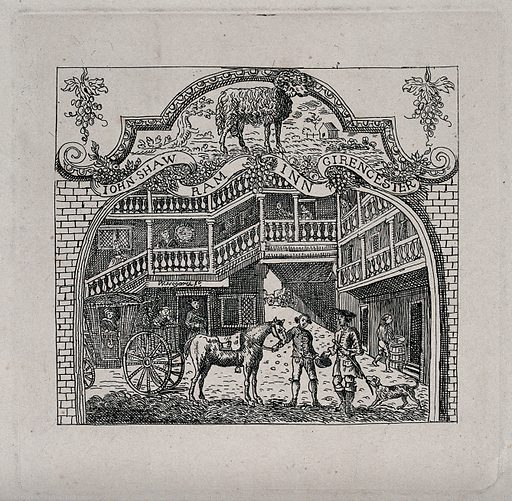 """A coach stopping in the courtyard of John Shaw's """"Ram Inn"""" in Cirencester. Etching after W Hogarth. Contributors: William Hogarth (1697–1764). Work ID: mkaejk48."""