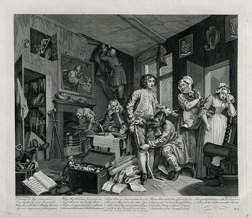 A rake, Tom Rakewell, is measured for new clothes while a servant is hanging the room in black to show mourning. Engraving by T Cook after W Hogarth. The group around Rakewell consists of a lawyer, two servants, a pregnant girl with a wedding ring and her irate mother. Created June 2nd 1796. Contributors: William Hogarth (1697–1764); Thomas Cook (approximately 1744–1818). Work ID: d3ngvew5.