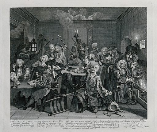 A dishevelled Tom Rakewell in the gambling house, the obsessed gamblers are unaware of a fire breaking out in the wainscoting. Engraving by T Cook after W Hogarth. At the centre is the rake, who having lost all his wife's fortune, has knocked over his chair and fallen to his knees, wigless and frantic, with the dog barking at him. Created Feby. 1st 1797. Contributors: William Hogarth (1697–1764); Thomas Cook (approximately 1744–1818). Work ID: rst54br3.