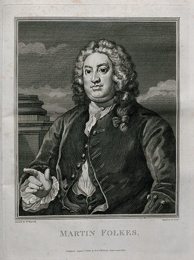 Martin Folkes. Engraving by T Cook after W Hogarth. Martin Folkes (1690–1754) was a mathematician and antiquarian. He was president of the Royal Society from 1741 to 1753, and was a vice-president of the Foundling Hospital. Created August 1st 1802. Contributors: William Hogarth (1697–1764); Thomas Cook (approximately 1744–1818). Work ID: xz23nkxz.