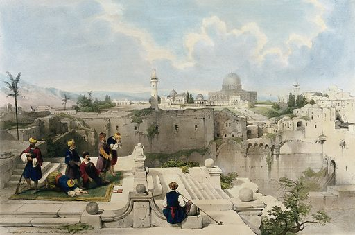 A group of worshippers at the site of a temple, with the Mosque of Omar, more usually known as the Dome of the Rock, in the distance. Jerusalem, Israel. Architecture. Contributors: David Roberts. Work ID: gxxf5rkt.