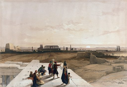 Sunset over the ruins at Karnac, Thebes, Egypt. Coloured lithograph by Louis Haghe after David Roberts, 1846. Created 1846. Antiquities. Karnak (Egypt). Contributors: David Roberts (1796–1864); Louis Haghe (1806–1885). Work ID: crae82fe.