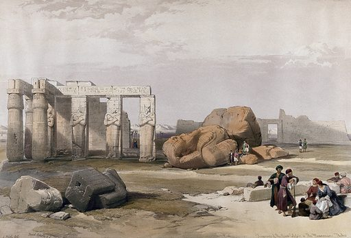 Fragments of the large statues of Memnon at the Memnonium, Egypt. Coloured lithograph by Louis Haghe after David Roberts, 1847. Contributors: David Roberts. Work ID: mq8fdvdy.
