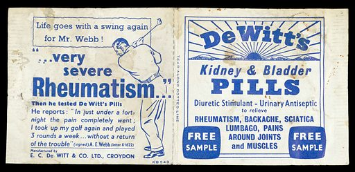 Advert for DeWitt's kidney and bladder pills. (front). Work ID: xm78t58x.