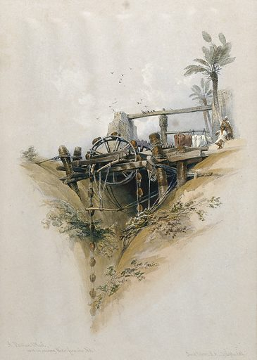 A Persian wheel, a device used in the irrigation of the Nile, Egypt. Coloured lithograph by Louis Haghe after David Roberts, 1849. Created 1849. Contributors: David Roberts (1796–1864); Louis Haghe (1806–1885). Work ID: fdxs9zxc.