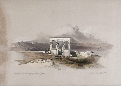 Temple of Isis on the roof of the temple at Dendera, Egypt. Coloured lithograph by Louis Haghe after David Roberts, 1849. Created 1849. Antiquities. Egyptian. Architecture. Temples. Contributors: David Roberts (1796–1864); Louis Haghe (1806–1885). Work ID: fxn2bbp4.