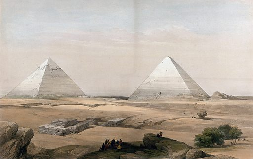 Pyramids at Gîza, Egypt. Coloured lithograph by Louis Haghe after David Roberts, 1848. Created 1 June 1848. Antiquities. Egyptian. Architecture. Pyramids – Pyramids of Giza (Egypt). Jīzah (Egypt). Contributors: David Roberts (1796–1864); Louis Haghe (1806–1885). Work ID: fbjqqezk.