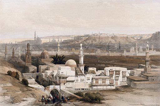 Cairo seen from the south, Egypt. Coloured lithograph by Louis Haghe after David Roberts, 1849. Contributors: David Roberts. Work ID: ww44xzwn.