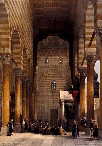 Interior of the mosque of the Metwaleys, with congregation, Cairo, Egypt. Coloured lithograph by Louis Haghe after David Roberts, 1849. Created 2 July 1849. Islamic architecture. Costume. Mosques. Contributors: David Roberts (1796–1864); Louis Haghe (1806–1885). Work ID: zg2mjpjw.