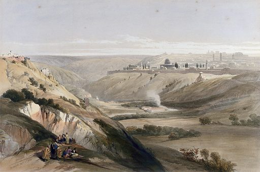 Jerusalem from the road leading to Bethany. Coloured lithograph by Louis Haghe after David Roberts, 1842. Created 1842. Costume. Israel. Contributors: David Roberts (1796–1864); Louis Haghe (1806–1885). Work ID: vd4ckkwk.