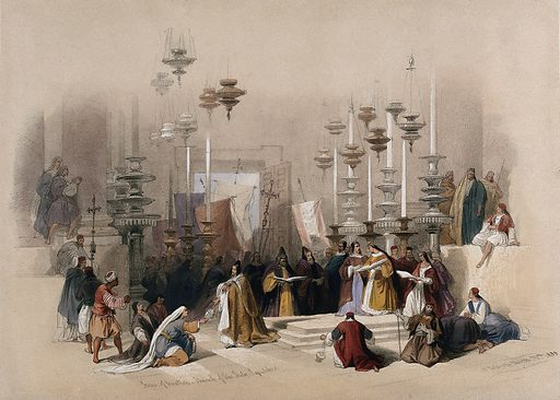 Worshippers at the Stone of Unction in the Church of the Holy Sepulchre, Jerusalem, Israel. Coloured lithograph by Louis Haghe after David Roberts, 1842. Created 1842. Costume. Contributors: David Roberts (1796–1864); Louis Haghe (1806–1885). Work ID: fad8ww3q.