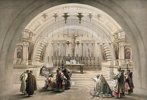 Chapel identified as the site of Calvary in the church of the Holy Sepulchre, Jerusalem, Israel. Coloured lithograph by Louis Haghe after David Roberts, 1842. Created 1842. Costume. Church buildings. Jerusalem. Church of the Holy Sepulchre (Jerusalem). Contributors: David Roberts (1796–1864); Louis Haghe (1806–1885). Work ID: fvcjjakv.