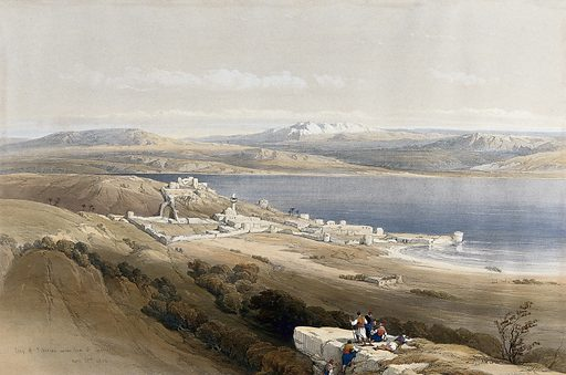 Tiberias, with lake Galilee, Israel. Coloured lithograph by Louis Haghe after David Roberts, 1842. Created 1842. Costume. Lakes. Mountains. Contributors: David Roberts (1796–1864); Louis Haghe (1806–1885). Work ID: yxabv36k.