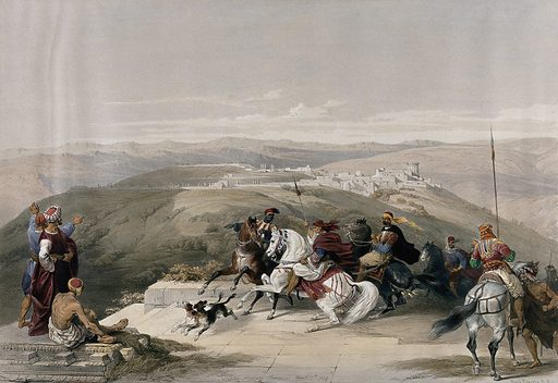 Group of horseriders on a plateau overlooking a landscape with the city of Sebaste, formely Samaria. Coloured lithograph by Louis Haghe after David Roberts, 1842. Contributors: David Roberts. Work ID: cxr2ypqg.