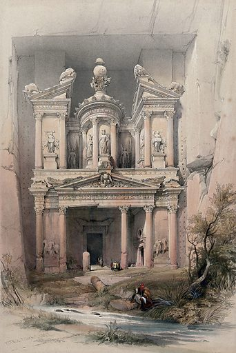 El Khasnè, Petra. Coloured lithograph by Louis Haghe after David Roberts, 1849. Contributors: David Roberts. Work ID: scyyacwg.