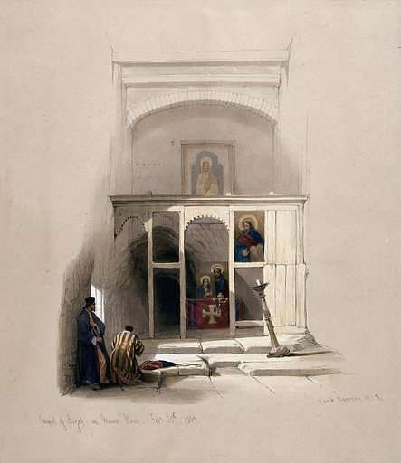 Worshippers in the chapel of Elijah on Mount Sinai. Coloured lithograph by Louis Haghe after David Roberts, 1849. Created 1849. Costume. Chapels. Icons. Contributors: David Roberts (1796–1864); Louis Haghe (1806–1885). Work ID: du2hb2y9.