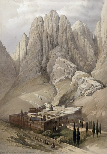 Monastery of St Catherine beneath Mount Sinai. Coloured lithograph by Louis Haghe after David Roberts, 1849. Created 1849. Costume. Mountains. Monasteries. Mount (Egypt) Sinai. Contributors: David Roberts (1796–1864); Louis Haghe (1806–1885). Work ID: abda3s2r.