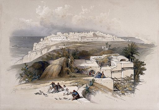 Jaffa, ancient Joppa, looking north. Coloured lithograph by Louis Haghe after David Roberts, 1843. Created 1843. Costume. Contributors: David Roberts (1796–1864); Louis Haghe (1806–1885). Work ID: javmptpu.