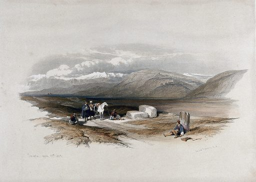 Landscape with site of ancient Sarepta. Coloured lithograph by Louis Haghe after David Roberts, 1843. Created 1843. Costume. Contributors: David Roberts (1796–1864); Louis Haghe (1806–1885). Work ID: ydxpsd46.