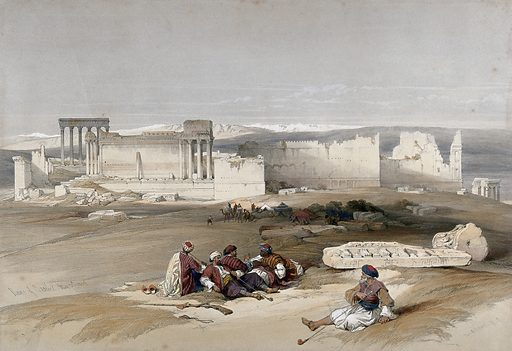 The ancient city of Baalbec. Coloured lithograph by Louis Haghe after David Roberts, 1843. Created 1843. Costume. Antiquities. Roman. Architecture. Contributors: David Roberts (1796–1864); Louis Haghe (1806–1885). Work ID: tfagq6w6.
