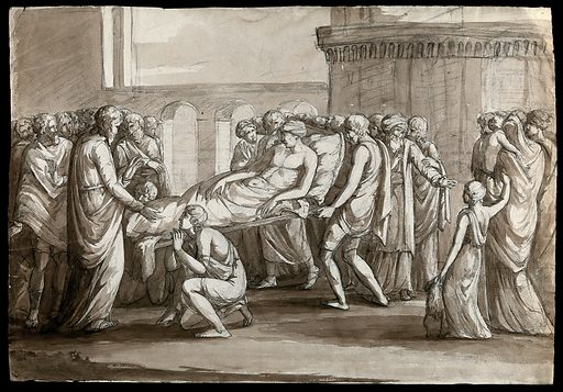 A sick man being carried on a litter towards a standing bearded male figure; watched by crowds of people. Pen and ink drawing. Presumably a paralysed man being brought to Jesus Christ for a miraculous cure. Jesus Christ Miracles. Work ID: q7mruvzd.