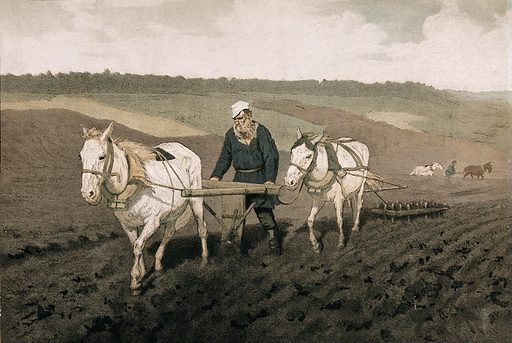 A Russian peasant ploughing his field with two horses and other peasants ploughing in the background. Colour lithograph. Work ID: a6snxweq.