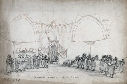 Cairo: a group of whirling dervishes performing in a mosque. Pencil drawing by CFH Werner, 1865. Created 1865. Contributors: Karl Friedrich Heinrich Werner (1808–1894). Work ID: r44j2faa.